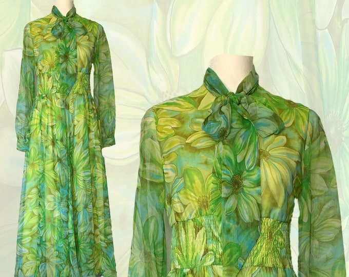 1970s Chiffon Hostess Dress by Jack Bryan with a Large Green and Yellow Floral Print. Sustainable Vintage Clothing.