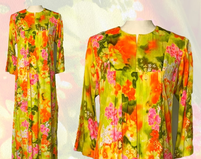 1970s Hawaiian Floral Kaftan Maxi Dress in Bright Yellows Oranges Pinks and Greens. Ludy Designs by Ludi's. Perfect Festival Dress.