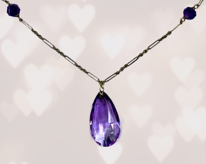 Amethyst Necklace with Drop Pendant and Beads set in 14K Yellow Gold. February Birthstone. 6th Anniversary. Estate Jewelry. 1900s Antique.