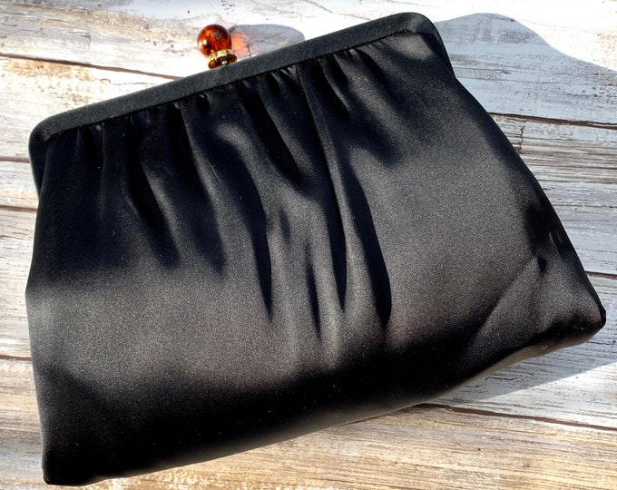 Vintage Black Satin Clutch by Ande with Built in Mirror and Lucite Closure. 1950s Sustainable Fashion Accessory.