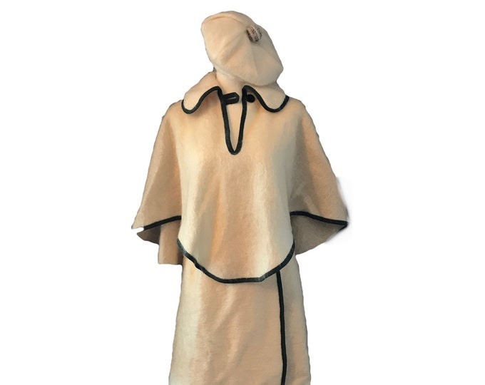 Vintage Cream Mohair Outfit with Skirt, Cape and Beret from Macpherson's of Scotland.