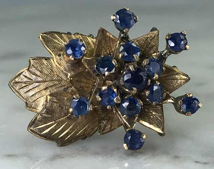 Vintage Spinel Cluster Ring. 14k Yellow Gold. Art Nouveau Statement Ring. Blue Spinel. Estate Jewelry. 65th Anniversary. August Birthstone.