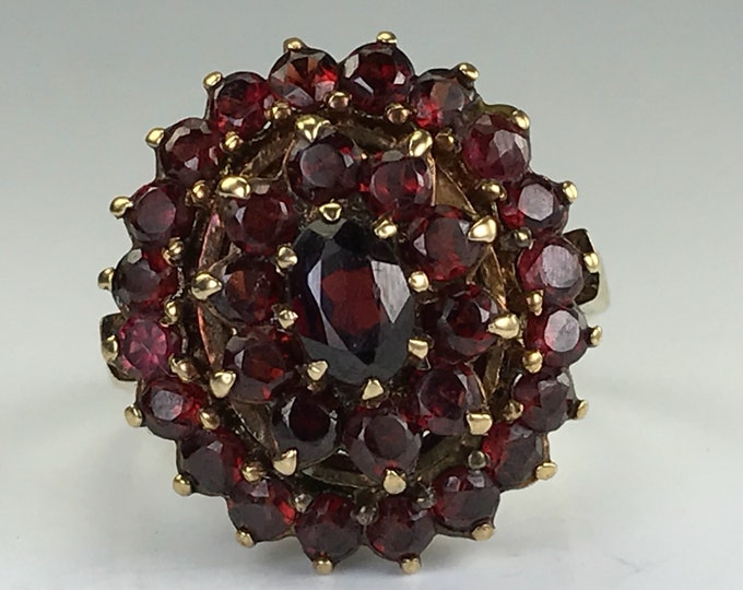 Vintage Garnet Cluster Ring. Yellow Gold Setting. Unique Engagement Ring. January Birthstone. 2 Year Anniversary Gift. Estate Jewelry.
