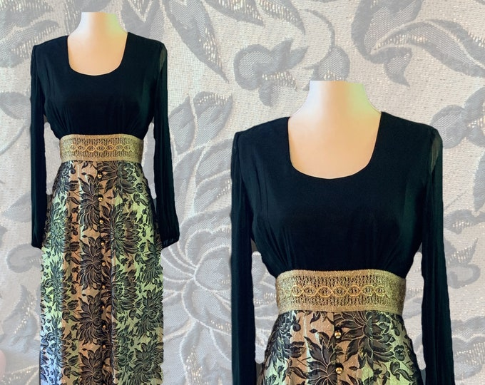 Vintage 1960s Chiffon and Brocade Evening Gown of Maxi Dress in Black and Gold.