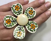 Upcycled Enamel Flower Ring. Hand Painted West Germany Brooch Repurposed to a Statement Ring. Sustainable Jewelry.