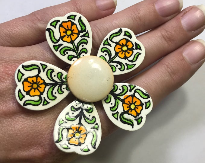 Upcycled Enamel Flower Ring. Hand Painted West German Statement Ring. Recycled Jewelry. Vintage Reused Ring.