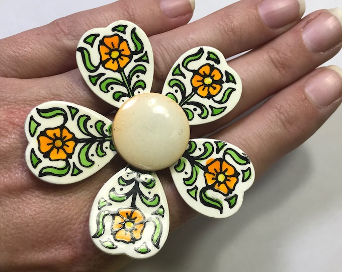 Vintage 1960s Hand Painted Enamel Flower Ring from West Germany Upcycled from a Brooch. Repurposed to a Statement Ring.