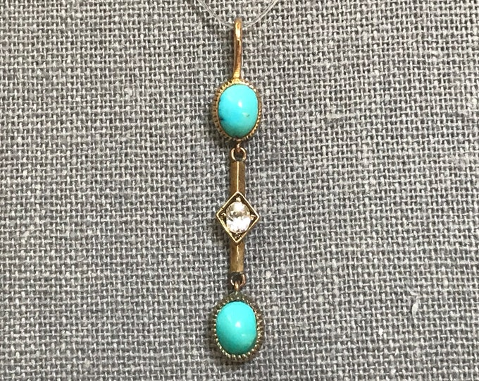 Turquoise Drop Pendant with Diamond Accent in 15K Yellow Gold. December Birthstone. Estate Jewelry. Circa 1800s Georgian. Gift for Her