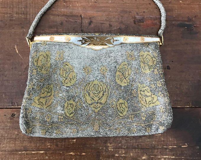 Vintage Metallic Clutch. Silver and Gold Evening Bag. Saks Fifth Avenue Handbag. Flower Design Purse. Vintage Fashion Accessory.
