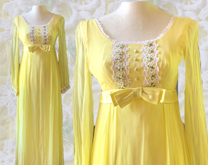 1960s Yellow Chiffon Maxi Boho Dress with Lace Daisy Accents for Saks Fifth Avenue. Vintage Wedding or Festival Dress. Sustainable Fashion