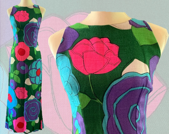Vintage Mod Floral Dress for Saks Fifth Avenue. Large Flowers in Green, Pink, Purple and Blue. 1960s Sustainable Vintage Fashion.