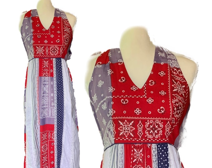 Red White and Blue Patchwork Halter Dress by Saks Fifth Avenue Young Dimensions.  Perfect for 4th of July!