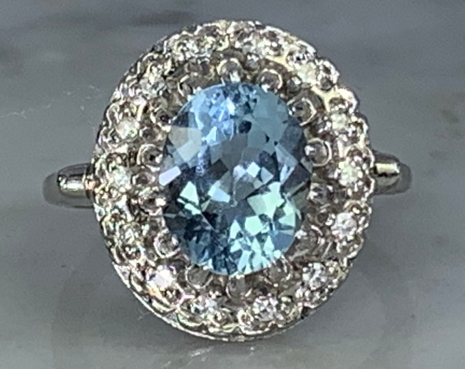 Vintage Aquamarine Ring with Diamond Halo in a 14k White Gold Setting. Unique Engagement Ring. March Birthstone.