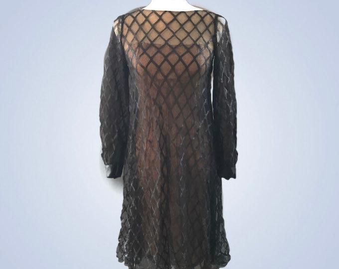 Vintage Black Dress. Black Silk Lace Mesh Cocktail Dress with Ribbon Details