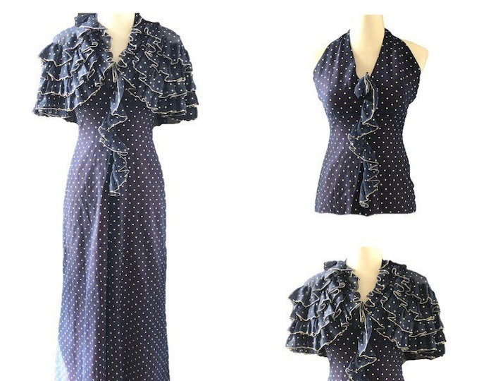 Vintage Polka Dot Sundress and Capelet by Phyllis Sues for Saks Fifth Avenue. Classic Navy Blue with White Polka Dots.