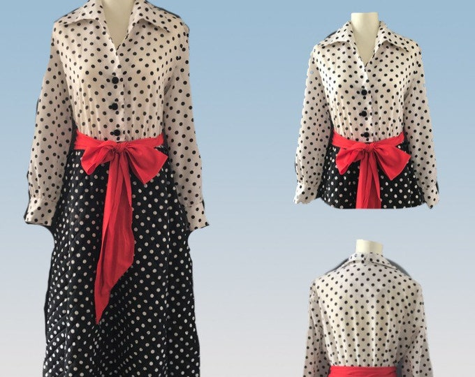 Vintage Polka Dot Rockabilly Lounge Gown for Saks Fifth Avenue. Quilted Skirts in Black and White Polka Dots.