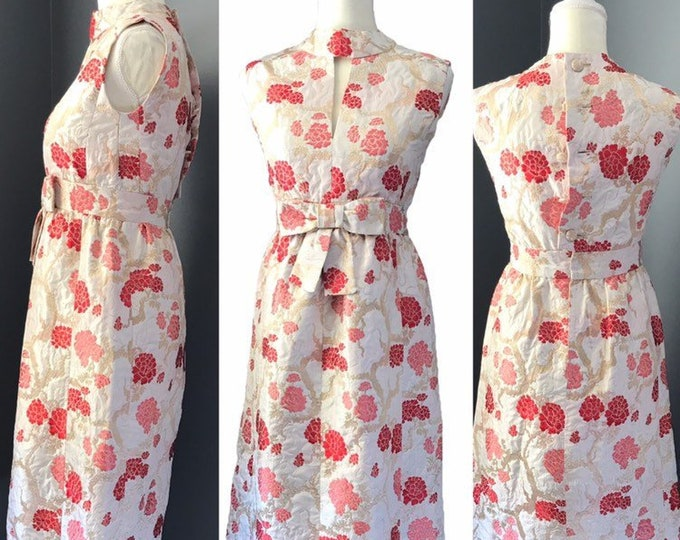 Vintage 1950 Brocade Wiggle Dress by Saks Fifth Avenue. Red and Pink Kimono Floral Design.