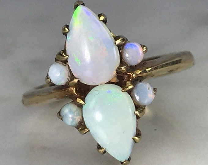 Vintage Opal Cluster Ring in 14k Yellow Gold. October Birthstone. 14th Anniversary Gift.