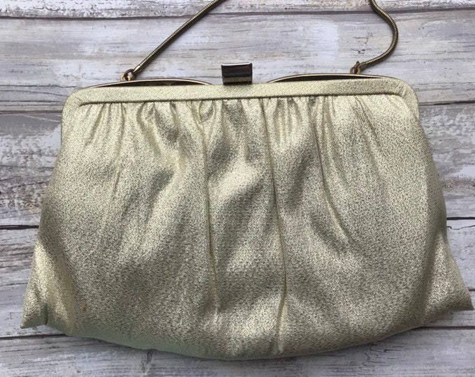 Vintage Gold Metallic Clutch by Ande.  1970s Evening Bag. Glamorous Gold Lame Purse. Vintage Fashion.
