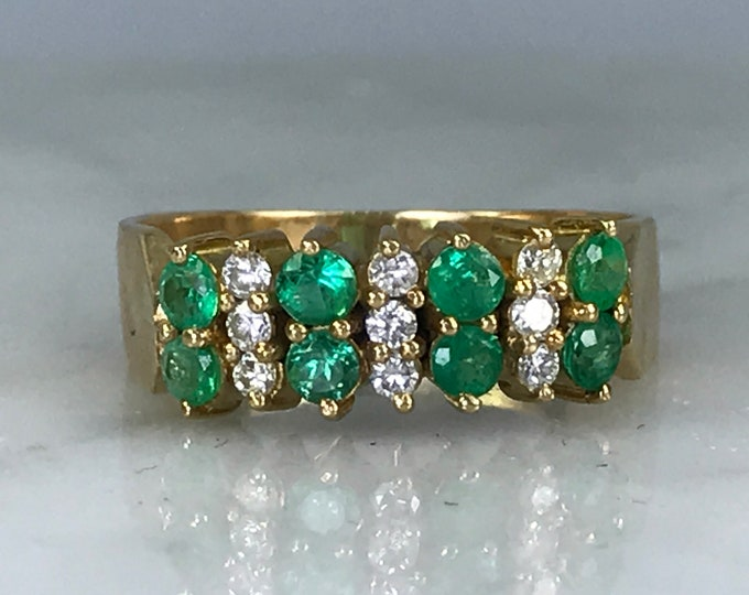 Emerald Diamond Cluster Ring. 14K Yellow Gold. Unique Engagement Ring. Estate Jewelry. May Birthstone. 20th Anniversary. Appraised.