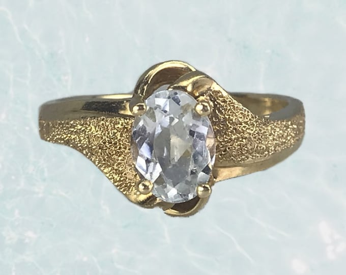 1970s Aquamarine Engagement Ring in a 14K Textured Yellow Gold Setting. March Birthstone. 19th Anniversary. Estate Jewelry