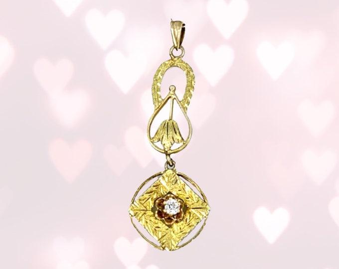 Antique Art Nouveau Diamond Drop Pendant in 10K Yellow Gold Filigree. April Birthstone. 10th Anniversary Gift. Estate Jewelry Circa 1930s.