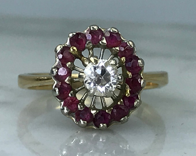 Vintage Ruby and Diamond Ring in Solid Yellow Gold. Unique Engagement Ring. July Birthstone. 15th Anniversary. Estate Jewelry