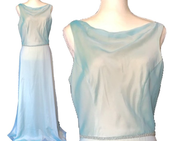 Vintage Blue Chiffon Gown by Bill Levcoff. Vintage Wedding or Formal Event Dress. Vintage Bride or Bridesmaid Dress.
