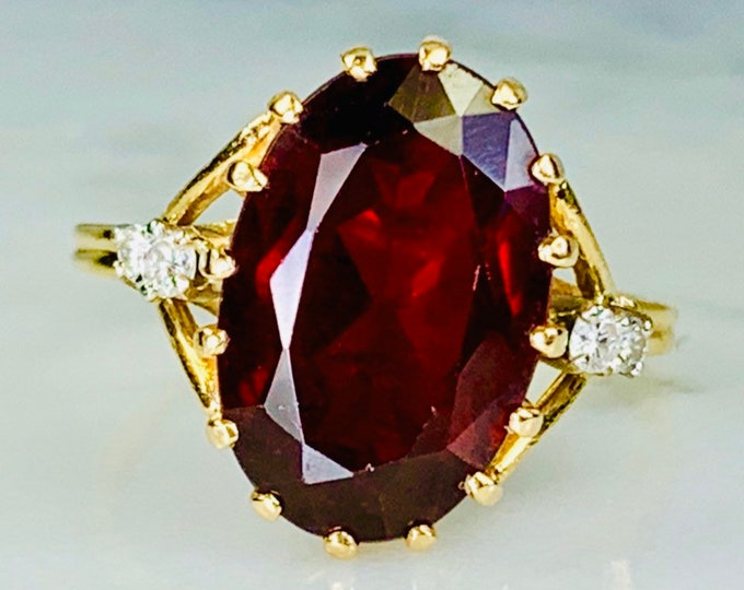 Vintage Garnet Ring with Diamond Accents set in 14K Yellow Gold. January Birthstone. Unique Engagement Ring. 2 Year Anniversary.