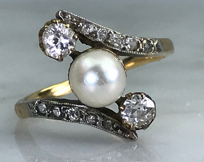 Antique Pearl Diamond Engagement Ring. 18K Yellow Gold. Estate Jewelry.  June Birthstone. 4th Anniversary. APPRAISED