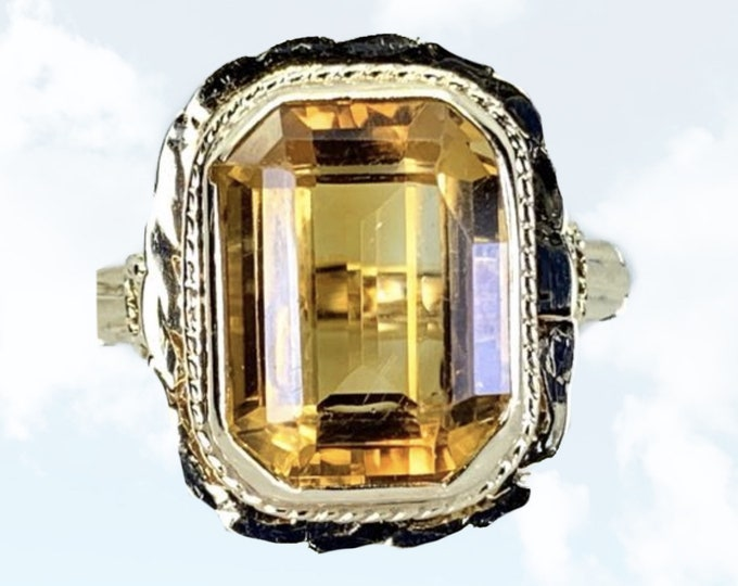 1950s Large Citrine Cocktail Ring in 14K Yellow Gold. Unique Engagement Ring with Arthritic Closure. November Birthstone. Appraised