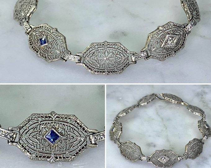 Vintage Sapphire Bracelet. Gold Filigree Link Bracelet. Diamond Accents. 14K. Art Deco Bracelet. April Birthstone. September Birthstone.