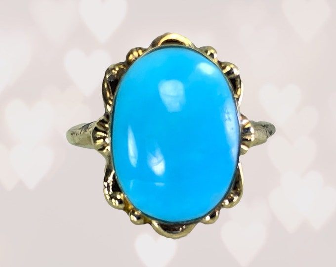 1920s Blue Turquoise Ring in 10K Yellow Gold Setting. Art Nouveau Ring. Unique Engagement Ring. Estate Fine Jewelry.  December Birthstone.