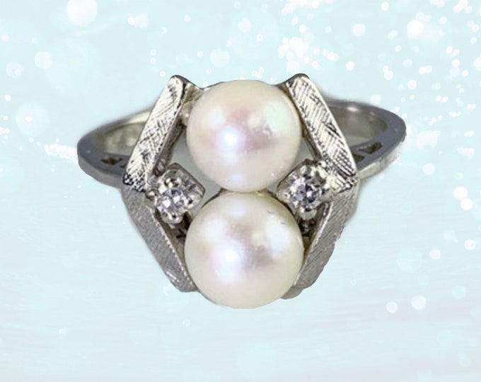 1950s Akoya Pearl Ring with Diamonds Accents set in 14K White Gold. June's Birthstone. Alternative Engagement Ring.
