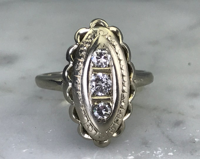 Vintage Diamond Shield Ring. 14K Gold. Art Nouveau Filigree. Unique Engagement Ring. April Birthstone. 10 Year Anniversary. Estate Jewelry.