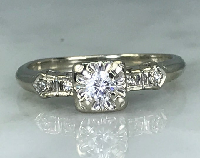 Vintage Art Deco Diamond Engagement Ring. 14K White Gold. April Birthstone. 10 Year Anniversary
