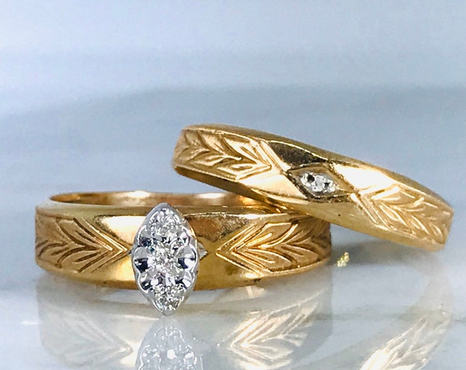 Wedding Ring Set with Diamond Engagement Ring and Wedding Band. Vintage Bridal Set in Yellow Gold. Estate Fine Jewelry.