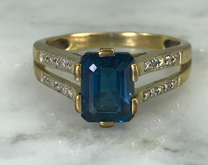Antique London Blue Topaz and Diamond Ring in Yellow Gold. Unique Engagement Ring. 4th Anniversary Gift. Estate Fine Jewelry.