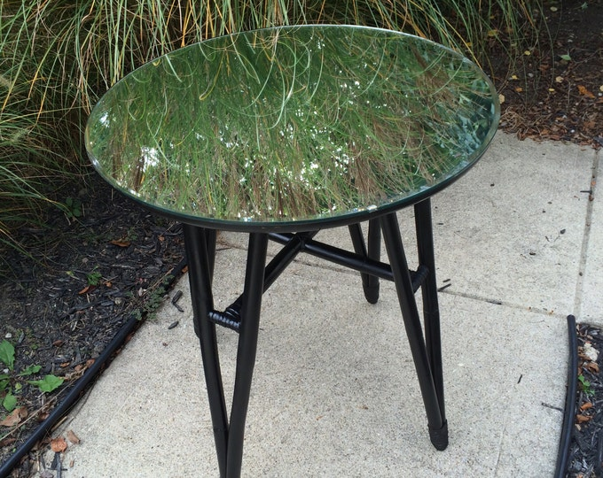 Upcycled Accent Table. Salvaged Entry Table. Vintage Round Bamboo Table with Vintage Mirror Top. Mid Century Modern Style Furniture. Black
