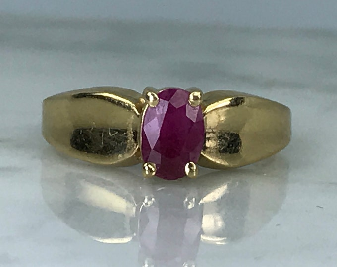 Vintage Ruby Solitaire Ring set in 14K Yellow Gold. Unique Engagement Ring. July Birthstone. 15th Anniversary. Estate Jewelry.