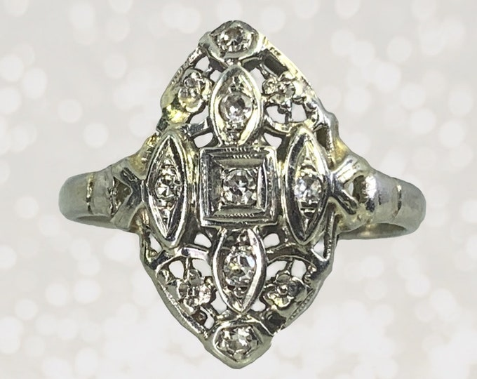 Vintage Diamond Shield Ring in a 14K White Gold Art Nouveau Filigree Setting. Unique Engagement Ring. April Birthstone. Estate Jewelry.
