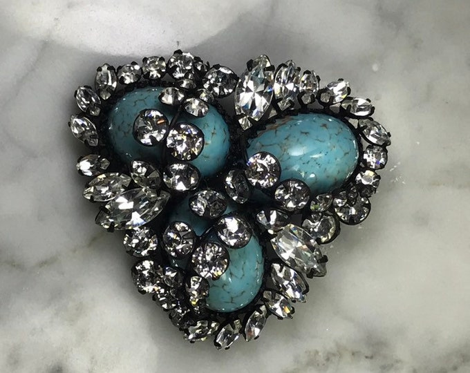 Vintage Rhinestone and Faux Turquoise Brooch by Hattie Carnegie. Eggs in the Nest Brooch. Costume Jewelry. Upcycled Statement Necklace.