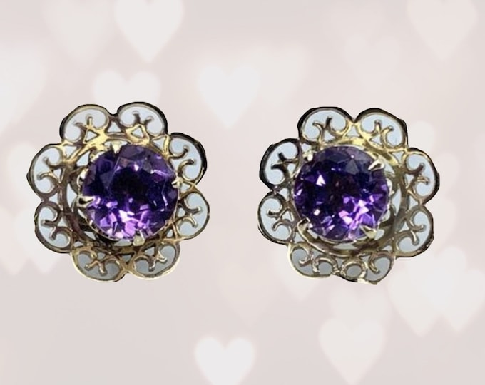 1970s Amethyst Earrings set in a Yellow Gold Flower Setting. February Birthstone. 6th Anniversary. Wedding Jewelry.