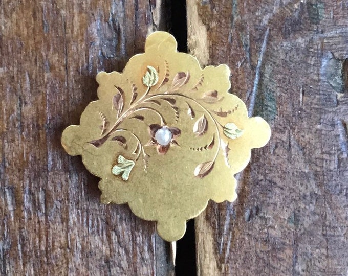 Antique Pendant or Brooch with a Seed Pearl in 18k Yellow Gold in a Floral Design . Repurposed Jewelry.