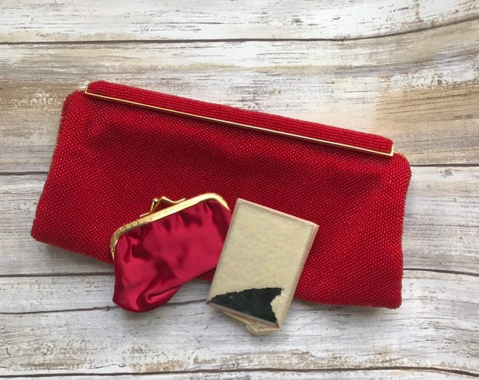 Vintage Red Glass Beaded Clutch. Saks Fifth Avenue France Evening Bag.
