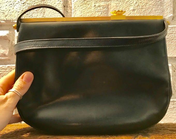 Vintage Black Leather Purse / Handbag by Koret. Gold Tone Hardware. 1950s Bag. Made in the USA.