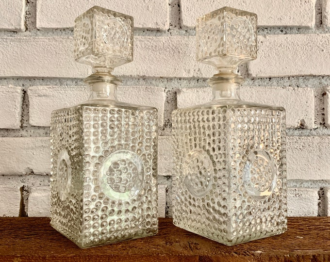 1940s Hobnail Glass Decanter Set with two Glass Bottles and Stoppers. Vintage Barware makes a Perfect Housewarming Gift.