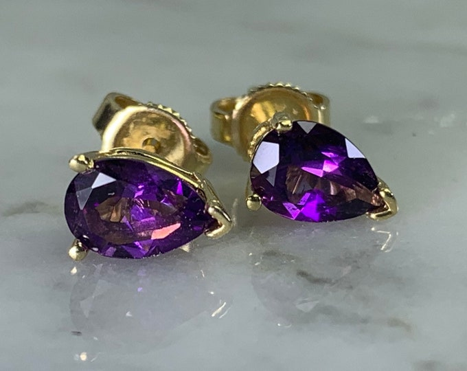 Vintage Amethyst Earrings set in 14K Gold. February Birthstone. 6th Anniversary. Wedding Jewelry.