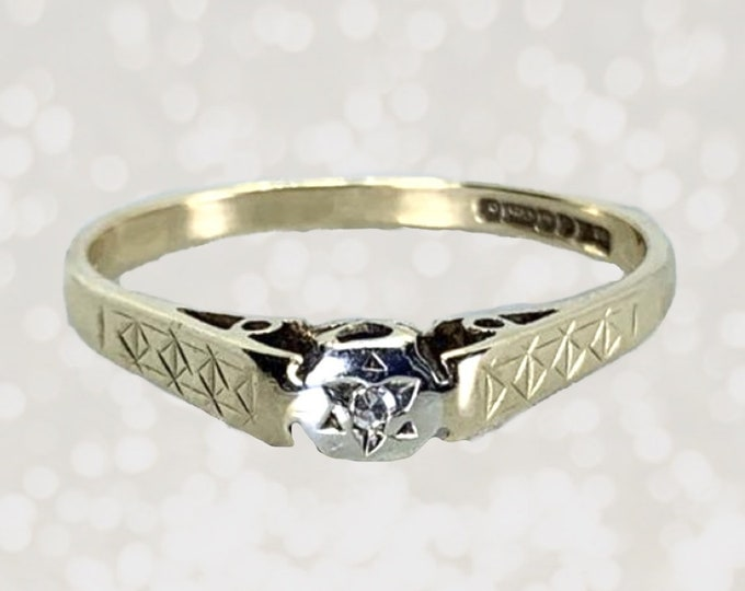 Vintage Diamond Engagement Ring or Promise Ring in an Art Deco Yellow Gold Setting. Perfect Stacking Ring! Circa 1970s.