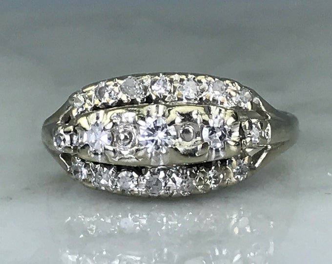 Vintage Diamond Cluster Ring. 14K White Gold. Unique Engagement Ring. April Birthstone. 10 Year Anniversary Gift. Estate Fine Jewelry.